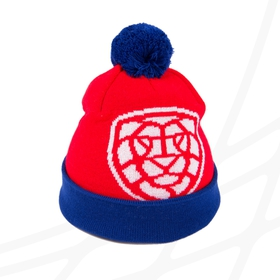 Hat with pom lion CF logo - for adults